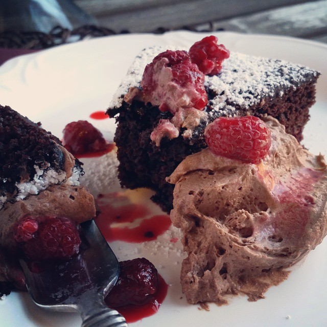 #cake for breakfast?  Red #wine dark #chocolate raspberry.  #heaven on #humpday #foodfiles